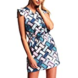 SANFASHION Bekleidung -  Vestito - Triangolo - Senza Maniche - Donna Blau Medium