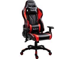 YOLEO Chaise ergonomique de bureau/jeu, réglable avec coussin lombaire, dossier haut, pivotante, avec appui-tête réglable, ch