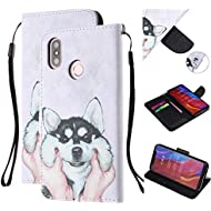 BONROY Flip Case for Xiaomi Mi 8,[Magnetic Closure] PU Leather [Card Slots] Wallet Cover for Xiaomi Mi 8-(Huskies-HX)