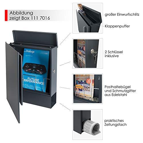 MOCAVI Box 111 Design-Briefkasten mit Zeitungsfach anthrazit-grau (RAL 7016) Wandbriefkasten, Schloss rechts, groß, Aufputzbriefkasten dunkelgrau, Postkasten anthrazitgrau modern mit Zeitungsrolle - 3