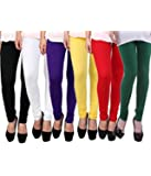 DESIGNESTY Women's Cotton Lycra 4 Way Stretchable Churidar Leggings For Women Multi Color Fit to Waist Size_Upto 34…