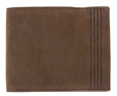 Ledergeldbeutel HJP VINTAGE (mit Datensafe RFID / NFC Blocker) Leder Geldbörse natürliche Gerbung + Etui (BASIC 60291 Schwarz) BASIC 60291 Braun