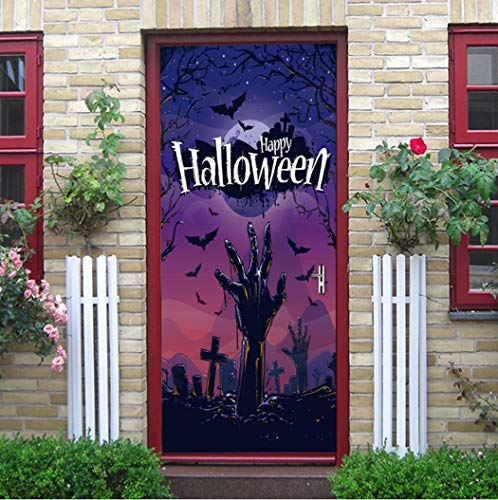 (Tür Aufkleber Halloween Zombies Klettern Aus Dem Friedhof Schlafzimmer Wohnzimmer Aussicht Europäischen Stil Wandaufklebern Wasserdichte Applique 3D Aus Qt XINGMU)