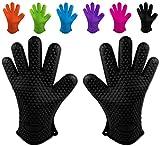 Belmalia 2 guantes de silicona para cocina y parrilla, juego, par, agarradores de cocina, guantes de horno Negro