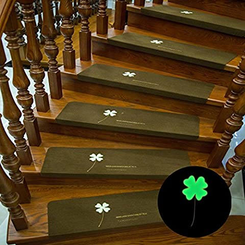 UUOUU Luminous Stair Tread Non-slip Four-leaf Clover Pattern Carpet Mats Coffee(Set of 5)