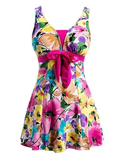 Ecupper Damen Badekleid Blumen Muster Gepolstert Badeanzug mit Shorts Bademode Große Größen Rosa 4XL