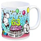 Honeycorns Tasse zum 63. Geburtstag mit Muffin und Einhorn Party - eine coole Tasse von trendaffe - passende weitere Begriffe dazu: Geburtstag 63. Geburtstag Glückwunsch Party Muffin Kerze Einhorn Einhörner Mädchen Frauen niedlich Kaffeebecher Kaffeetasse Becher Geburtstagsgeschenk Geschenk Geschenkidee oder Glückwunsch.
