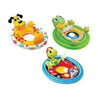Features: see me sit pool rider, smooth leg holes and back support, handle with squeaker or balls, ages 3 to 4, 2 air chambers, repair patch, new dolphin, frog and bear assortment. Capacity: 50 lbs. Material: 10 Gauge vinyl. Dimensions: 24 inch H x 3...