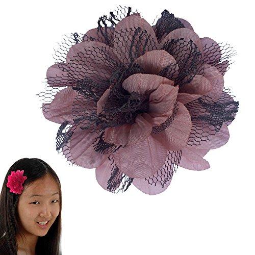 Mädchen TruStay Clip - Pfingstrose Bogen Haarspange - Beste rutschfeste Haarspange für feines Haar (GD2- Rosa | Grau) (Mädchen-euro-boutique)