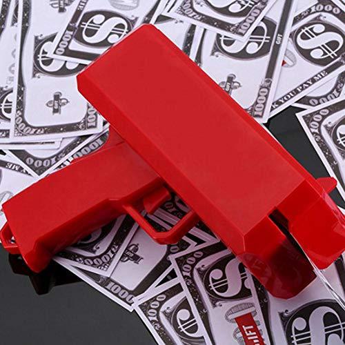 Househome Nachtclub Schießen Geld Waffe, Geld Pistole Spielzeug Pistole &Geldpistole+100 Gefälschte Münzen, Spritzpistole spucken Geld Spoof Spielzeug für Ihre Kinder oder Freunde, Rot (Gefälschte Geld Für Kinder)