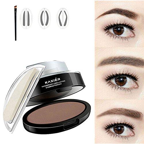 J.Causd Wasserdichte Augenbraue Stempel Pulver 3 Paare Pulver Stempel Augenbrauen Makeup Augenbrauen Schatten Wasserdichte (Hellbraun)