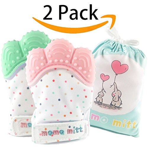 MoMo Mitt Baby Zahnen Handschuhe für Babys beruhigende Schmerzlinderung, Kinderkrankheiten Handschuh Beißring Handschuhe Bpa frei, Massage Beißring Handschuh, Kinderkrankheiten Spielzeug, Baby für 3-12 Monate Baby (rosa + mintgrün)