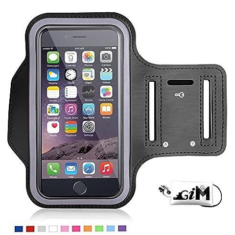 G-i-Mall Noir Brassard Armband Sport jogging Housse brassard néoprene avec bande velcro et Sangle Réglable pour iphone 6 6S Plus samsung s6 edge Huawei Sony LG Xiaomi ASUS et smallphone 4.8'' à 5.5''