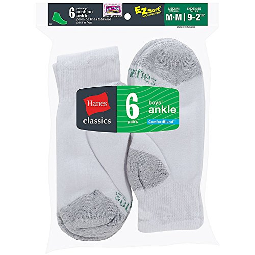 Hanes Classics Boys` Ankle EZ Sort? Socks