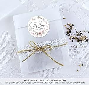 Blütensamen Set 24 Sticker Lasst Unsere Liebe Wachsen Pastell Blüten Kranz 4cm Matt Rund 24 Flachbeutel Weiß 130 X 95 16 Mm Hochzeit Taufe