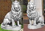 2 Löwen Set (S103037+S103038) Torwächter Gartenfiguren Statuen Steinguss 135 cm