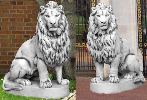 2 Löwen Set (S103037+S103038) Torwächter Gartenfiguren Statuen Steinguss 135 cm - Outdoor-löwen-statuen