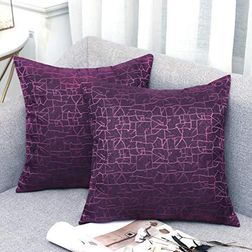 Vioaplem Kissenhüllen Stickerei Streifen Polyester Baumwolle Leinen Wurf Kissenbezug zum Couch Sofa Schlafzimmer Zuhause 50 x 50cm Lila 2 Stück