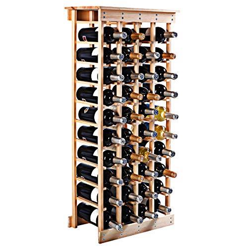 COSTWAY Weinregal aus Holz Flaschenregal Weinständer Holzregal Weinschrank Flaschenständer für 44 Flaschen