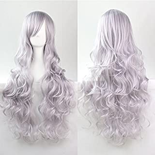 Womens Ladies Girls 80cm Light Grey Color Long Curly Wigs High Quality Hair Carve Cosplay Costume Anime Party Bangs Full Sexy Wigs