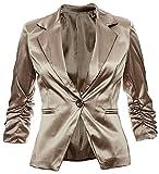 Eleganter Damenblazer Blazer Baumwolle Jäckchen Business Freizeit Party Jacke in 26 Farben 34 36 38 40 42, Farbe:Braun Metallic;Größe:S-36