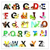 Pädagogische Wandaufkleber Tier Alphabet Kunst Buchstaben Adorable Set von 26 ABC Letter Decals um die Wände in Kinderzimmer und Kinder Zimmer Attraktive und lustige Lern Tool für kreative junge K