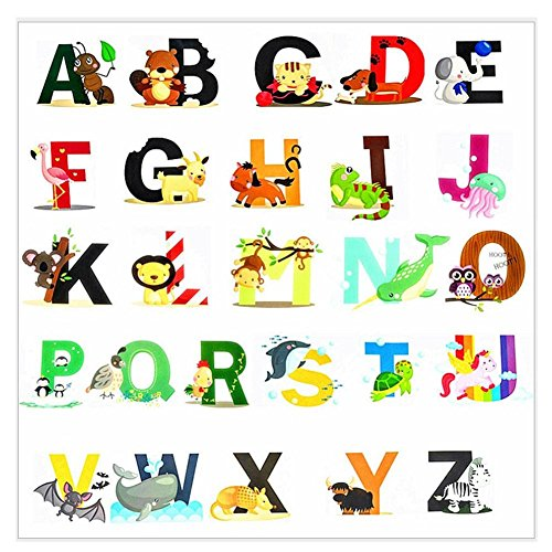 (Pädagogische Wandaufkleber Tier Alphabet Kunst Buchstaben Adorable Set von 26 ABC Letter Decals um die Wände in Kinderzimmer und Kinder Zimmer Attraktive und lustige Lern Tool für kreative junge K)