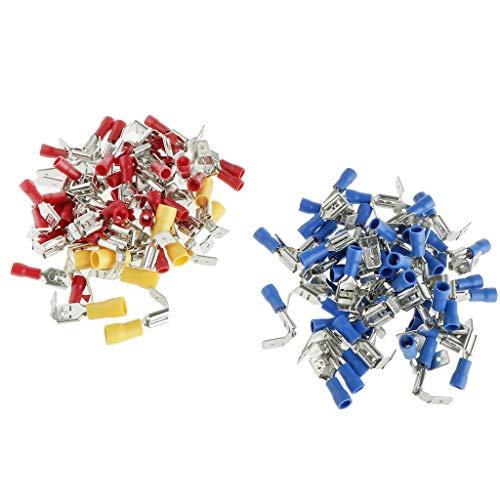 Doppel-isolierte Stecker (SM SunniMix 100er Doppel 6.3mm Flachsteckhülsen Kabelschuhe Flachstecker Steckverbinder 0.5-4.0 mm² Abzweigverbinder)