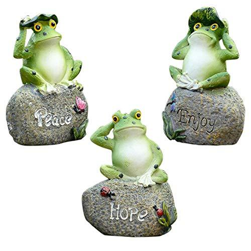 Harz Frosch Dekoration Kreative Frosch Statuen Landschaft Ornament 3D Frosch Figur Mini Figur Patio Statue Ornament Indoor Und Outdoor Geschenk 3 STÜCKE - 3 Stück Patio