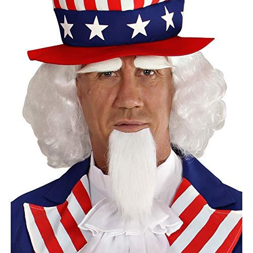 Widmann 06750 Perücke, Spitzbart und Augenbrauen, Uncle Sam, weiß