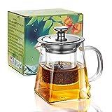 PluieSoleil Teekanne Glas Teebereiter 450 ml Abnehmbare Edelstahl-Sieb ...