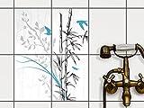 creatisto Fliesen aufkleben   Muster-Fliesenfolie Badezimmerfliesen Dekofolie Küchengestaltung   20x25 cm Design Motiv Bamboo 1-4 Stück