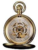 KS Taschenuhr mit Kette Herren Mechanisch Skelett Steampunk Analog Vintage Geschenkbox Gold KSP011