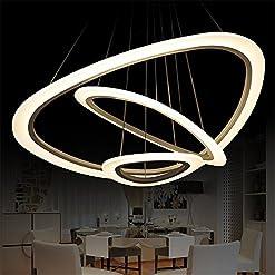 Vi-xixi Moderno soggiorno camera da letto minimalista moda creativo lampada a sospensione personalità rotonda lampadario,luce calda, LED 72W, tre anelli diametro 74 cm, 52cm, 34cm (Incluso Lampadina )