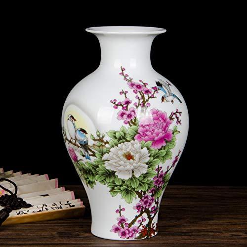 suxiaopei Jingdezhen Keramik Kleine Vase Kindheit Chinesischen Hause Wohnzimmer Dekoration Weinschrank TV Schrank Ornamente Fischschwanz Flasche (ohne Boden) 14x23 cm -