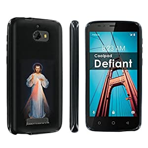 [POPCulture] Gummy Gel TPU For CoolPad Defiant [Black] Total Shock Absorption Bumper Slim-Fit Flexible TPU [Screen Protector]- [Jesus I Trust in You] Print Design