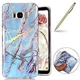 Herbests Handy Hülle Samsung Galaxy S8 Schutzhülle Silikon Handytasche Marmor Muster Glänzend Glitzer Kristall Luxus Bling Transparent Durchsichtige Tasche TPU Bumper Case,Blau