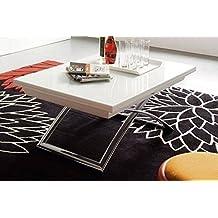 CALLIGARIS Table basse relevable extensible italienne MAGIC J blanche et piétement en acier chromé