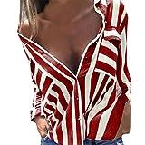 Sunnywill Damen Blusen V-Ausschnitt Streifen Langarmshirts Blusen Kariertes Hemd Oberteile (Rot, M)