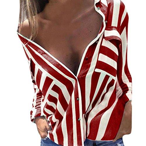 Sunnywill Damen Blusen V-Ausschnitt Streifen Langarmshirts Blusen Kariertes Hemd Oberteile (Rot, M) (Weiß Streifen Grau Seide)