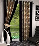 Optimistic Home Furnishing-Brown -Duster -Door Curtain-(set of 2)