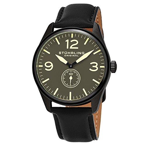 Stührling Original 931.02 - Reloj analógico para hombre, correa de cuero, color negro