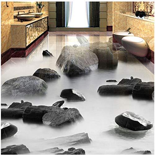 Wandbild 3D Stein Wasser Boden Fliesen Malerei Wand Wohnzimmer Bad Wasserdicht Pvc Vinyl Bodenbelag Tapete Aufkleber -