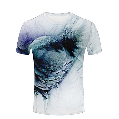 qianyi maoyi Men Casual 3D Print Dark Render Wings and White Background Short Sleeve Summer T-Shirts Fashion Graphic Tees XXXL