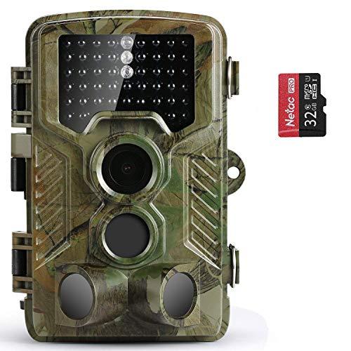 COOLIFE Caméra de Chasse Caméra de Surveillance Étanche 49 LEDs 16MP 1080P HD 25m Grand Angle 125 ° De Vision Nocturne Traque IR Caméra de Jeu Nocturne Infrarouge