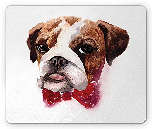 dog Mouse Pad, Watercolor Dog Portrait with a Bow Tie Design Brush Stroke Effect, Standard Size Rectangle Non-Slip Rubber Mousepad, Brown Ruby Black ()