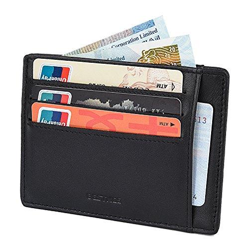 Slim Card Holder Wallet Genuine Leather for Men - RFID Blocking Minimalist Front Pocket Wallet by Bestkee
