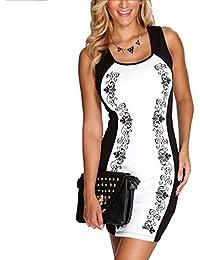 Two Tone Print Dress- White