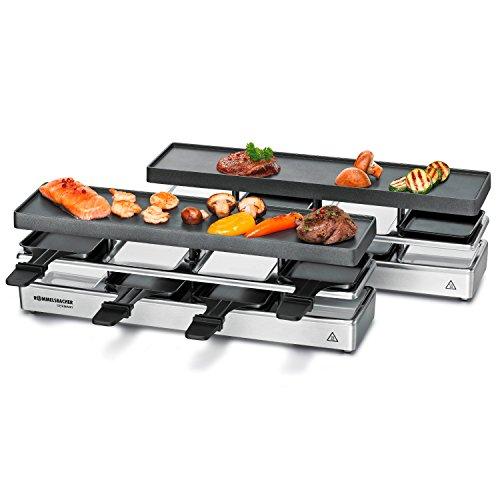 ROMMELSBACHER RC 1600 Raclette-Grill fun for 4+4 (Tischgrill, für 8 Personen, erweiterbar, Parkdeck, Alu-Druckguss-Grillplatte mit Xylan Plus Antihaftbeschichtung, 1590 W) silber (1590 Gehäuse)