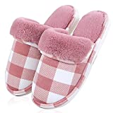 ToullGo Winter Warm Slippers, Women Men Winter Warm Plush Slippers, Home Floor Soft Warm Slippers, Indoor Anti-Slip Cotton-Padded Slipper Washable (UK5-5.5, Red)